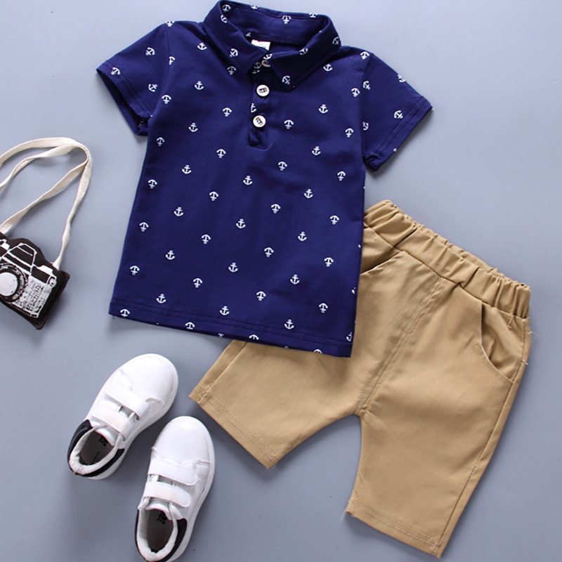 New Listing 2018 Summer New Children's Boys Clothing Cotton Casual Short-sleeved Sports Shirt + Pants Children's Piece Set 2PCS