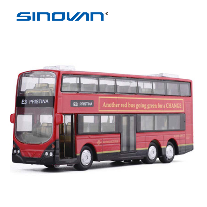 2-Floor Diecast London Double Decker Bus Model Toy Cars Alloy Hongkong Light Music  Old-Fashion Car Toys For Children