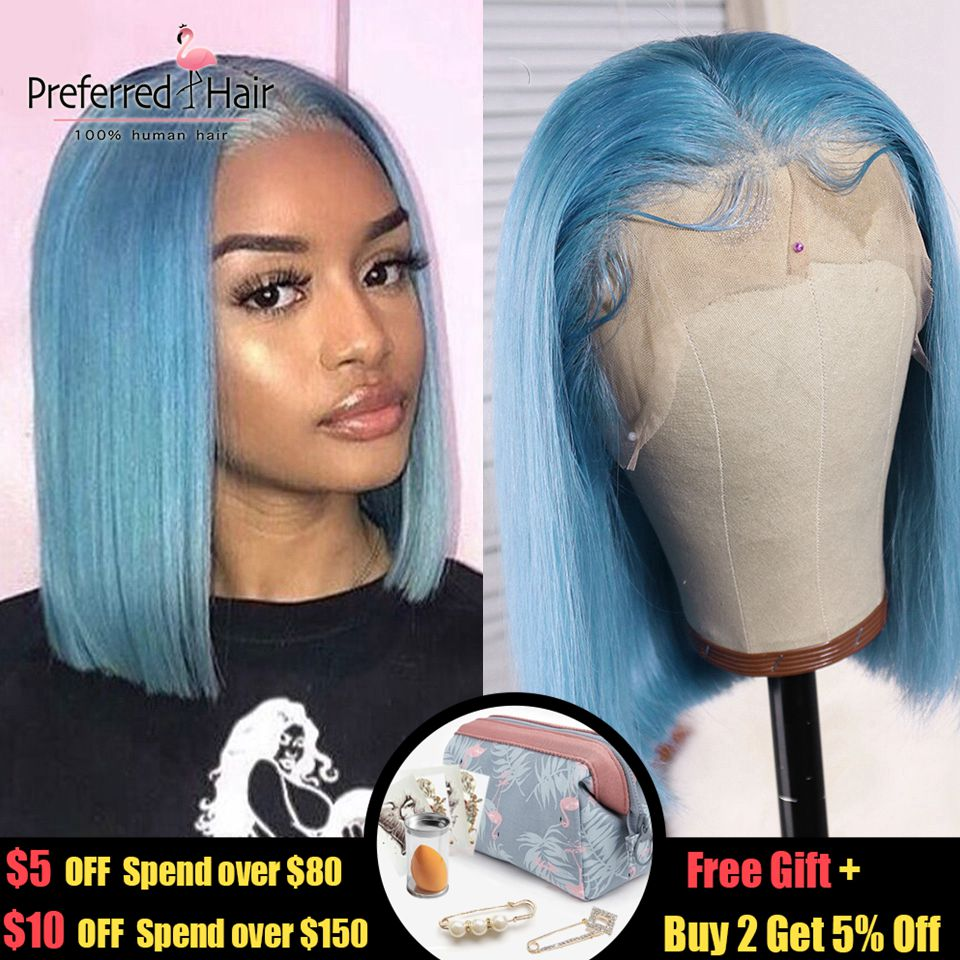 Preferred Light Blue Wig Brazilian Remy Hair Purple Lace Front Wig Preplucked Glueless Short Human Hair Bob Wigs For Black Women