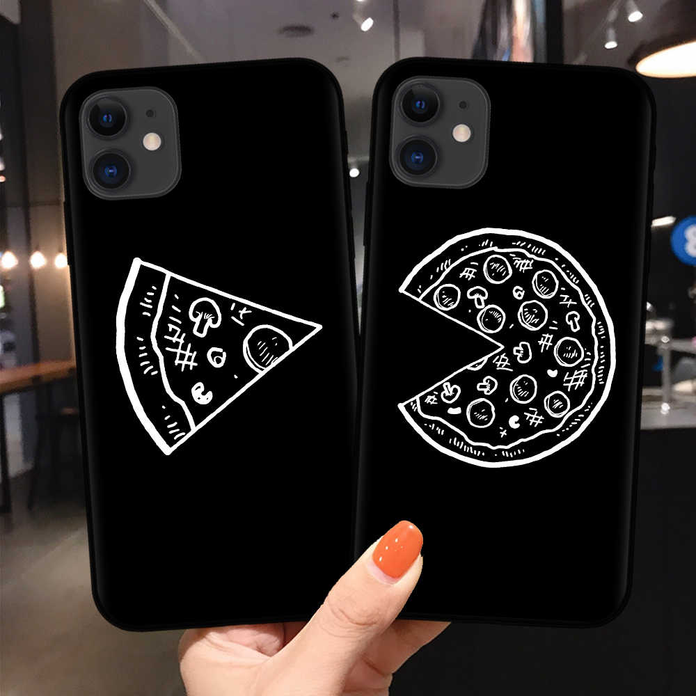 Funny Pizza Best Friends Phone Case For Coque iPhone 11Pro XS MAX XR X 8 7 6 6s Plus 5S SE Cover King Queen Couple Cases Funda