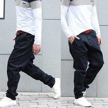 Модные шаровары джинсы мужские повседневные джинсовые широкие брюки мешковатые хип хоп джоггеры джинсы черные трусы брюки мужская одежда