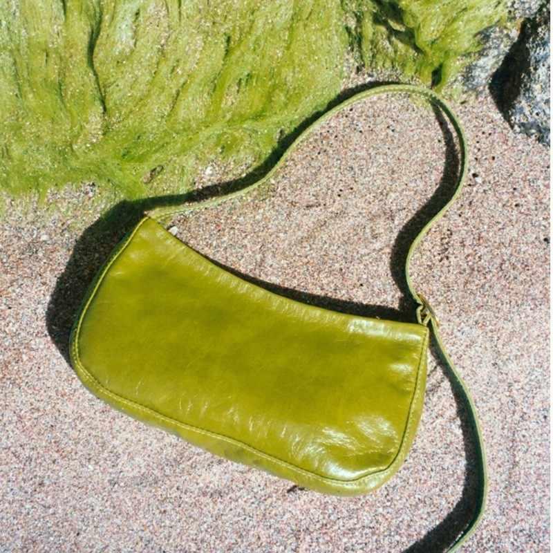 Puimentiua 2019 Primavera Estate Donna Trendy Verde Bianco Singola Cinghia di Borse di Cuoio Dell'unità di Elaborazione Della Chiusura Lampo Del Sacchetto di Spalla Femminile Borsa