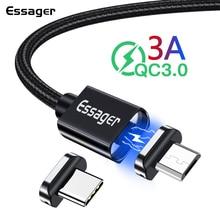 Essager Магнитная Зарядное устройство Кабель с разъемом микро-usb типа C для samsung Huawei OnePlus 6 т LG Тип-C Магнит данных Быстрая зарядка через usb кабель