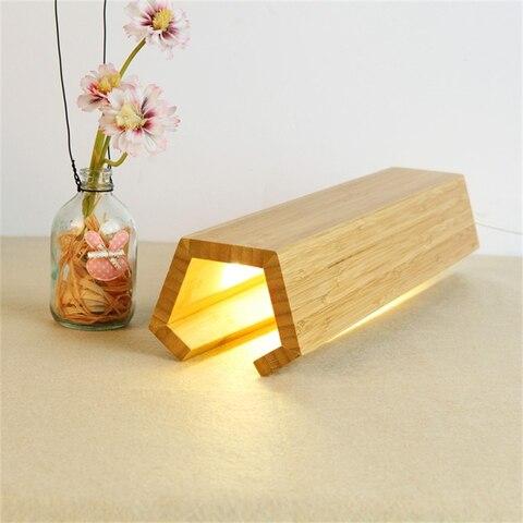 simples de madeira led candeeiros de mesa cabeceira para o quarto japones arte casa deco