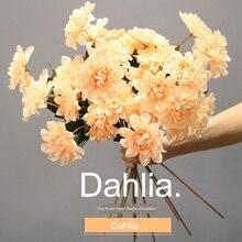 Simulation three-headed dahlia wedding dahlia home decoration flower nordic wedding small chrysanthemum simulation flower цена 2017