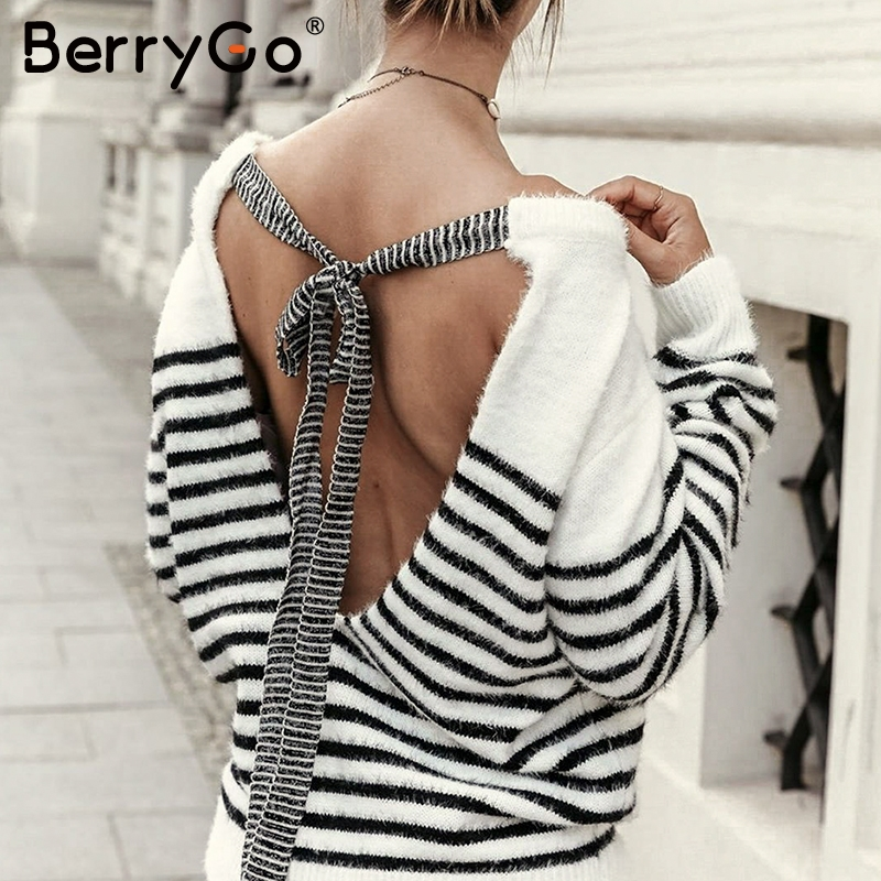 BerryGo Sexy Backless Mohair Pullover Sweater Women Autumn Winter Soft Female Sweater Elegant Lace Up Strip O-neck Ladies Jumper
