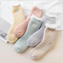 5Pairs  embroidered women warm socks winter snow medium tube thickened pink socks cotton for ladies 74