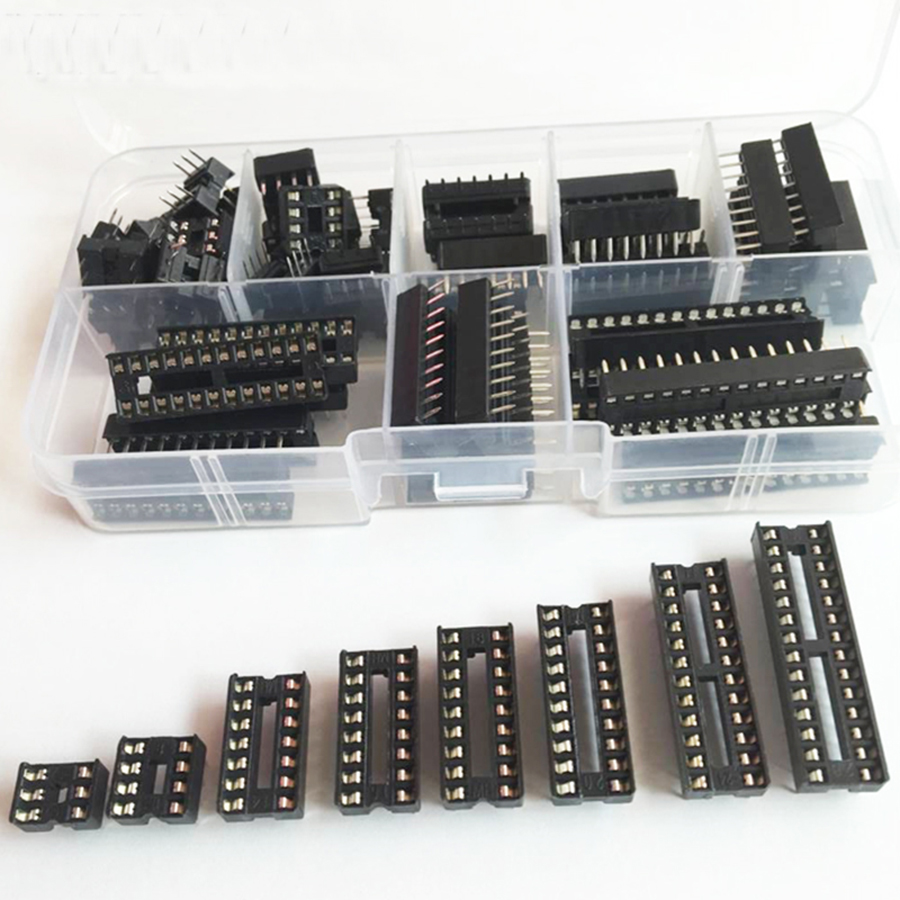 66 шт./лот соединитель ИС розетки DIP6/8/14/16/18/20/24/28 контакты для NE555 74HC комплект гнездовых адаптеров ИС Тип пайки комплект гнезд