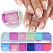 12 решеток хромового порошка для ногтей, погружающая Мерцающая пыль, красочный пигментный порошок, перламутровый блеск для украшения ногтей LAZGF