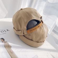 Mens Adjustable Crimping Brimless Hat Skull Cap Autumn Winter Beanies For Men Beanie Slouchy Hip Hop Short Strap