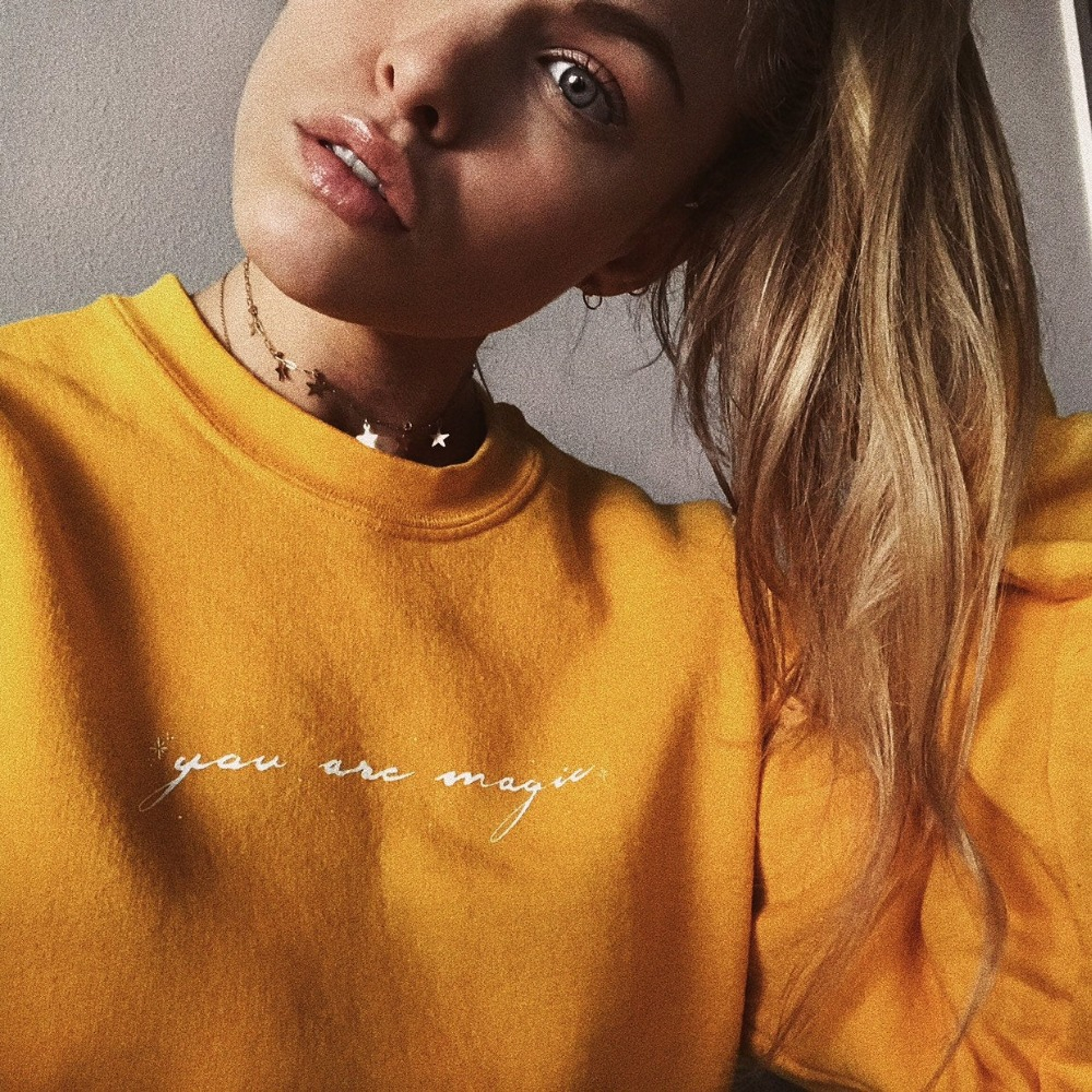 You Are Magic Sweatshirt Yellow Women Fashion Pure Casual Grunge Tumblr Camisetas Aesthetic Vintage Pullovers Cute Tops- L342