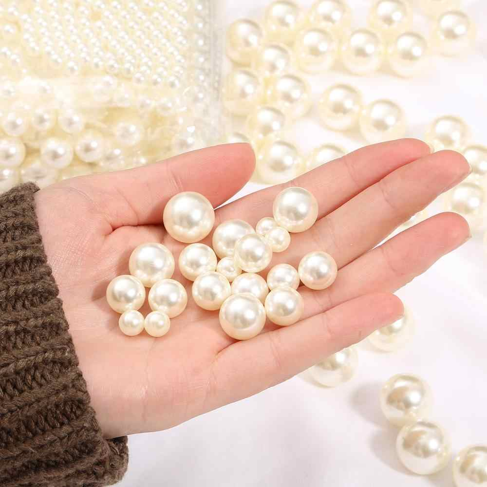 * Perlas 185 un 4 mm Color Crema Espaciadoras Redondas de plástico imitación de Imitación *