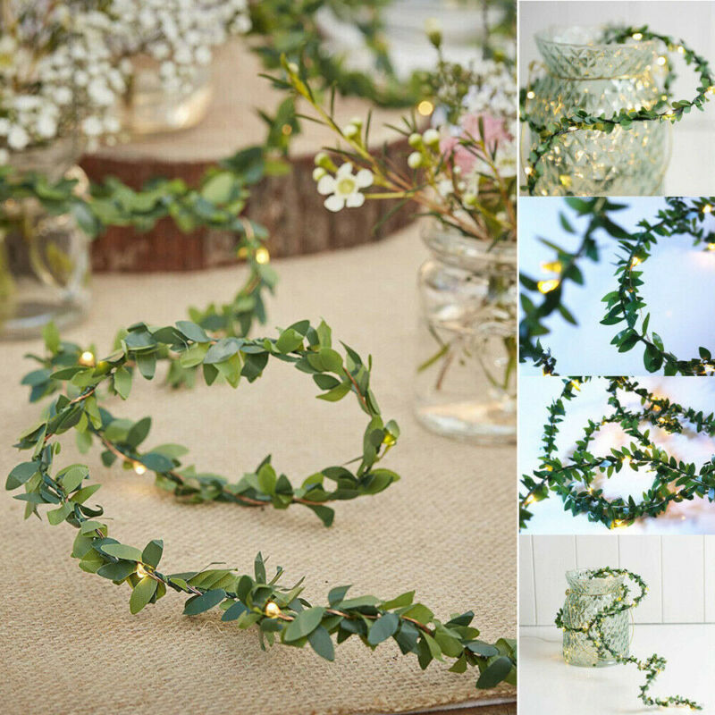 Vine-String Fairy-Lights Rose-Flower Leaf Decoration Green White Usb/solar-Powered 3m title=