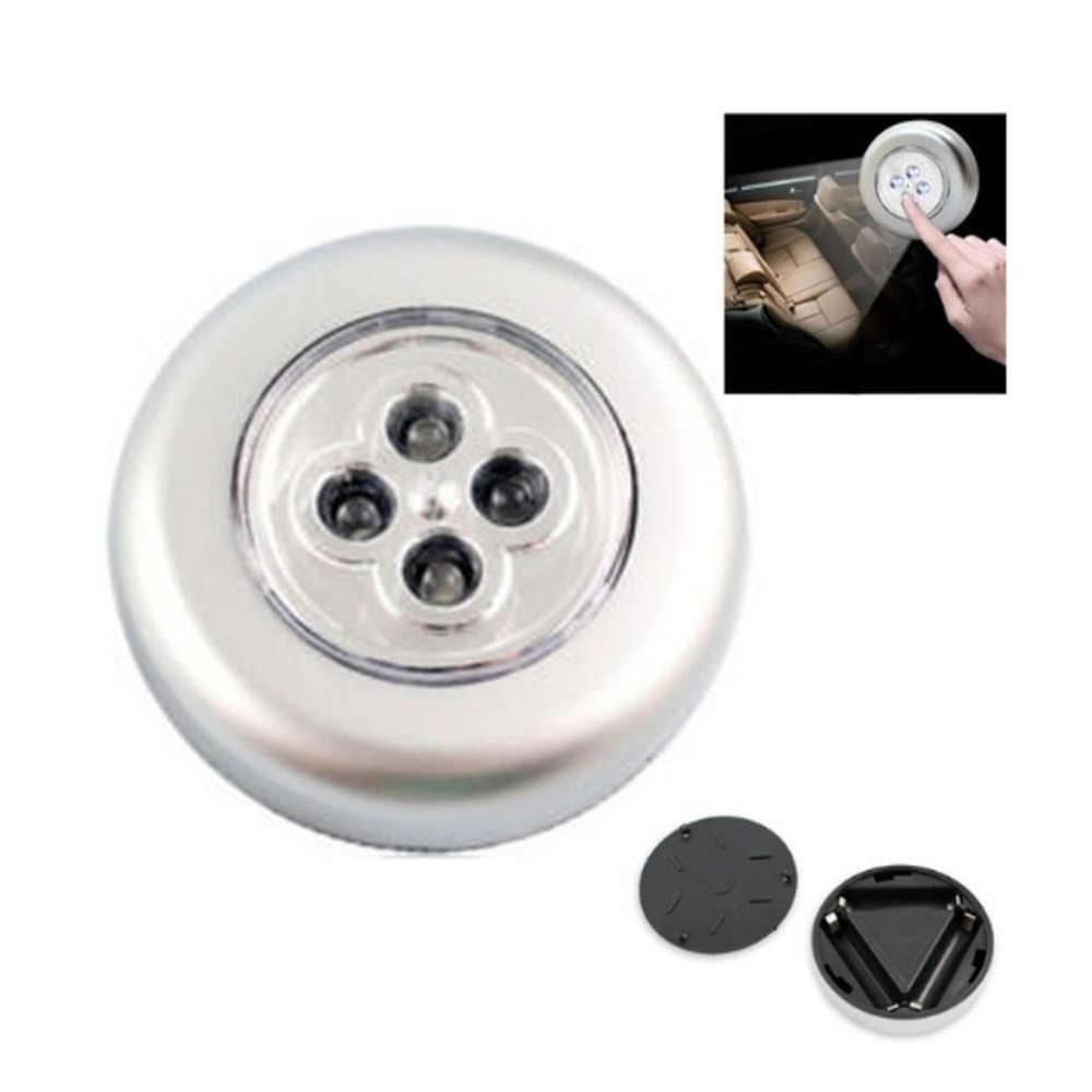 4-светодиодный сенсорный Управление ночник круглый потолочный светильник под шкаф пуш-ап прочно держаться на поверхности лампы Главная Кухня Спальня автомобильной Применение