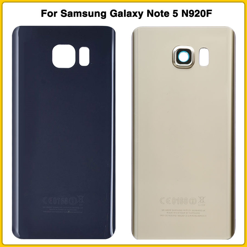 New Note5 Rear Housing Case For Samsung Galaxy Note 5 N920 N920F With Lens Battery Cover Door Rear Chassis Glass Replacement