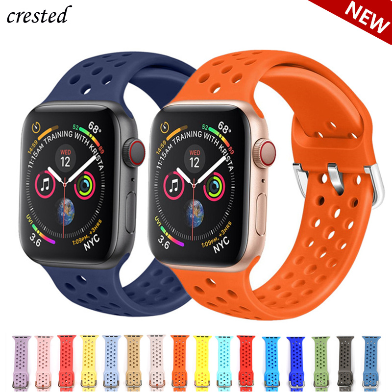 Silicone Strap For Apple Watch Band 38mm 42mm IWatch 4 Band 44mm 40mm Sport Breathable Bracelet Watchband For Apple Watch 4 3 21