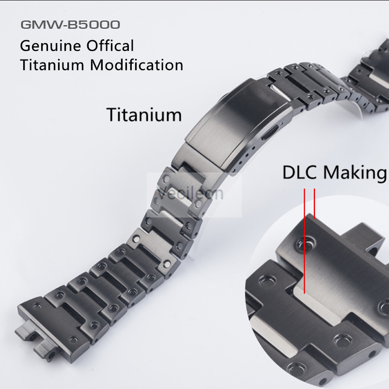 GMW-B5000 Black Titanium Alloy Watchbands And Bezel Metal Strap Steel Bracelet Cover With Tools