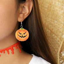Hello Miss Halloween new funny face pumpkin earrings resin cartoon pendant fashion womens jewelry