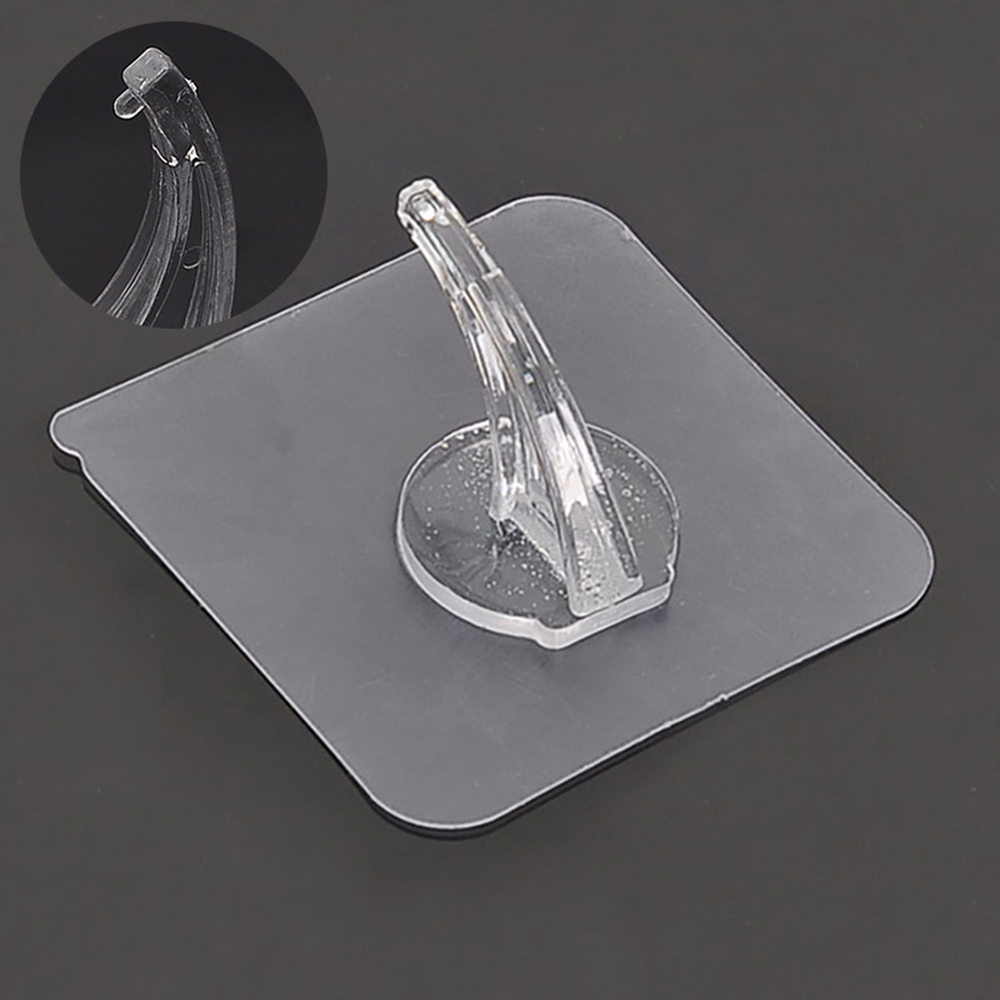 1PC Transparent Strong Self Adhesive Door Wall Hangers Hooks Punch-free Storage Hanging Kitchen Magic Bathroom Accessories
