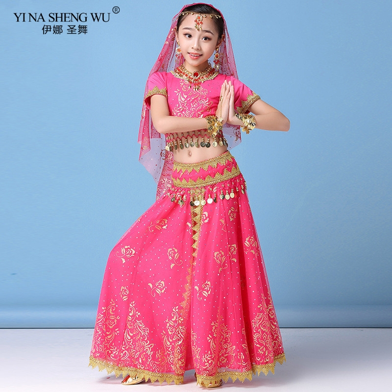 New Style Kids Belly Dance Indian Dance Costume Set Sari Bollywood Children Outfit Chiffon Belly Dance Performance Clothes Sets