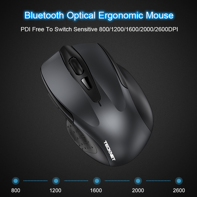 TeckNet Optical Wireless Mouse Computer Bluetooth Mouse 2600DPI 2 4G Wireless Bluetooth Mouse Ergonomic Mice for