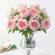 1 букет с 9 головками, искусственные пионы, чайные цветы, Камелия, Шелковый искусственный цветок, Флорес для украшения дома, сада, свадьбы