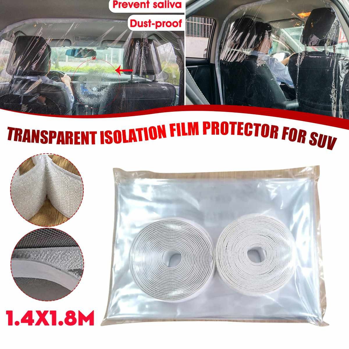 1.4X1.8m Car Transparent Partition Film Protection Taxi Cab Isolation Curtain Sealed Anti-droplets Proof