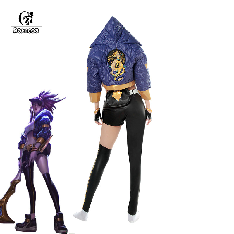 Rolecos jogo lol k/da akali cosplay traje lol kda akali cosplay traje uniforme de inverno para mulher conjunto completo