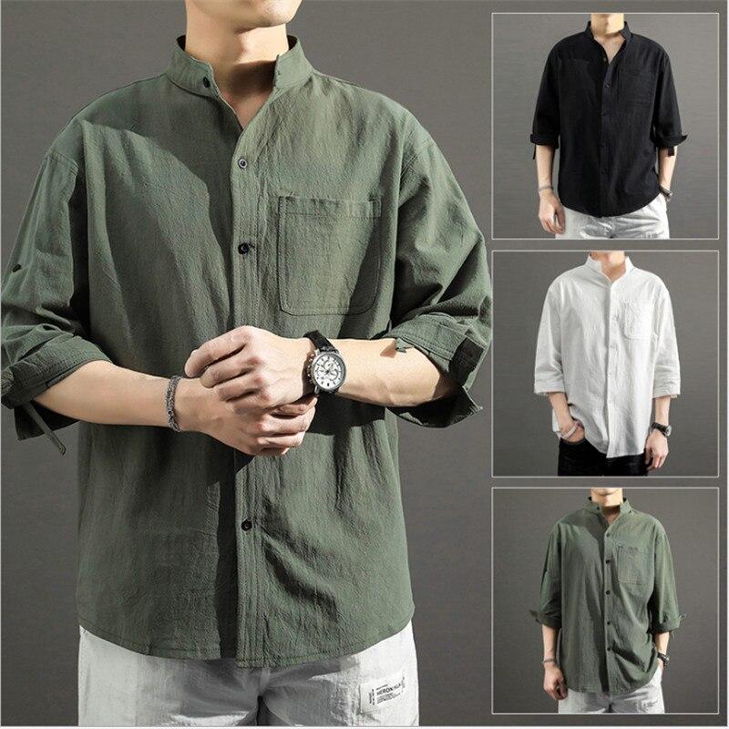 Рубашка мужская с воротником-стойкой, повседневная сорочка с рукавом три четверти, однотонная блуза с карманами, большие размеры 5XL