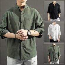 5xl tamanho grande camisa masculina de três quartos manga gola casual camisa para masculino camisa de cor sólida com bolso