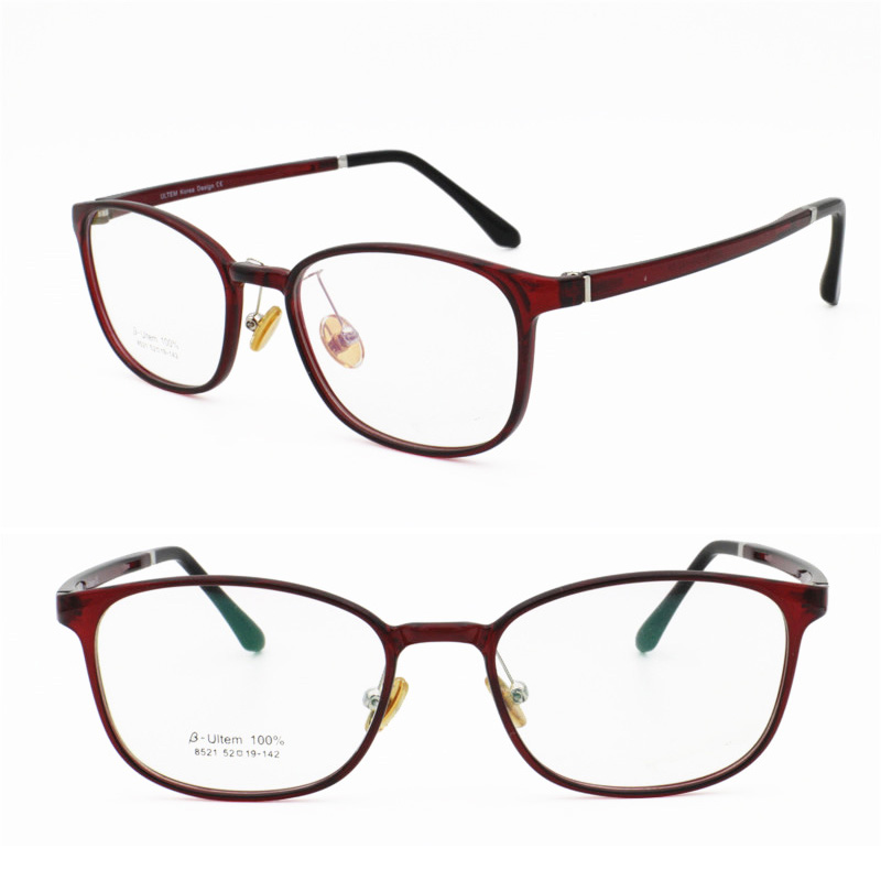 classic 8521 square shape full-rim with silicone nose pad ultra lightweight ULTEM trendy prescription glasses for men or women