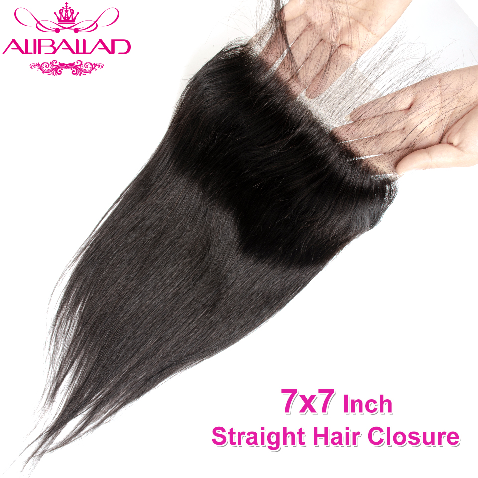 7x7 Lace Closure Remy Brazilian Straight Human Hair Closure Pre Plucked With Baby Hair 130% Density Lace Closure Aliballad Hair