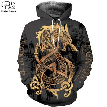 PLstar Cosmos Viking Warrior Tattoo New Fashion Tracksuit casual Colorful 3D Print Hoodie/Sweatshirt/Jacket/Men Women s-1
