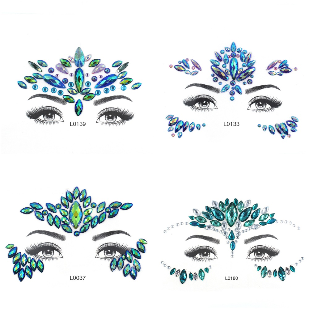 Eye Glitter Temporary Tattoo Stickers Body Face Jewels Gems Music Festival Party Makeup Tatoo Face Crystal Stickers For Woman