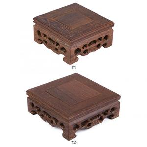 Retro Tea Tray Tea Table Delicate Small Square Teapot Base Vase Decoration Solid Wood Bonsai Pedestal Wooden Base Serving Tray