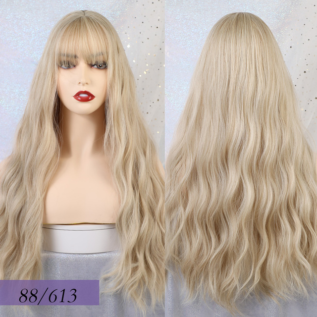 Blonde Unicorn Long Mix Purple Womens Wigs with Bangs Water Wave Heat Resistant Synthetic Wigs for Women African American 4