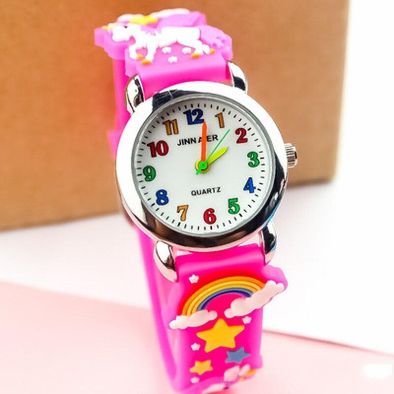 Детские часы для мальчиков и девочек студентов Радуга Единорог красочные силиконовые часы с красивыми звездами вечерние подарок кварцевые...