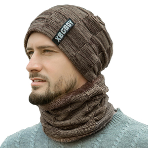 2 Pieces Casual Beanie Hat+Scarf Set Fashion Men 2019 New Winter Warm Knitted Thicken Skull Caps and Soft Plush Wool Scarves(China)