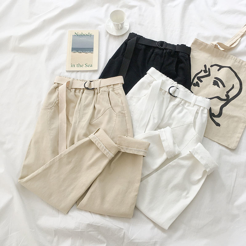 Safari Style Denim Long Pant Women Casual High Waist Straight With Sashes Trousers Female White Black Loose Bottoms