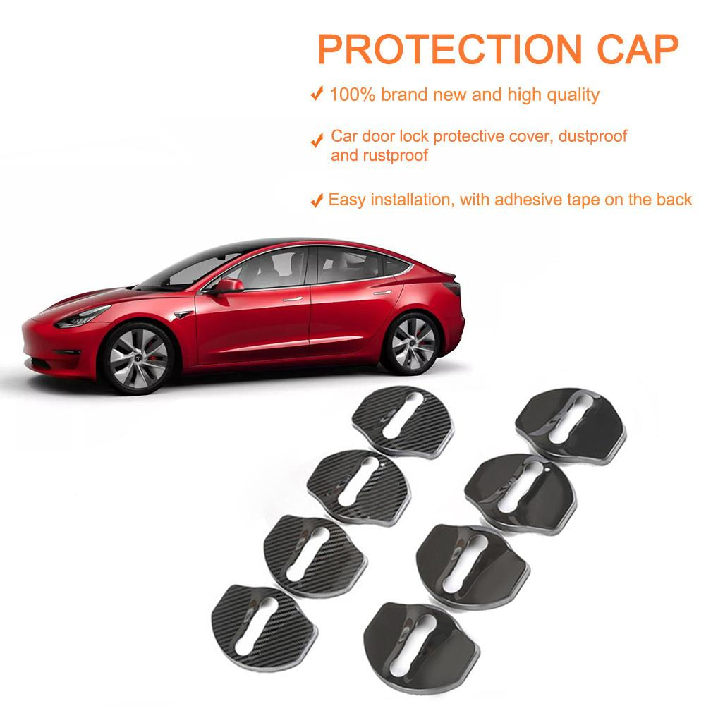 4pcs For Tesla Model3 Door Lock Cover Door Button Stainless Steel Protective Cover Dustproof Rust Cap Accessories