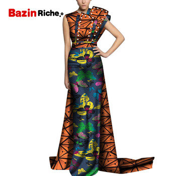 2020 New Bazin Riche African Wedding Dresses for Women Dashiki Print Pearls Party Dresses Vestidos Women African Clothing WY5152