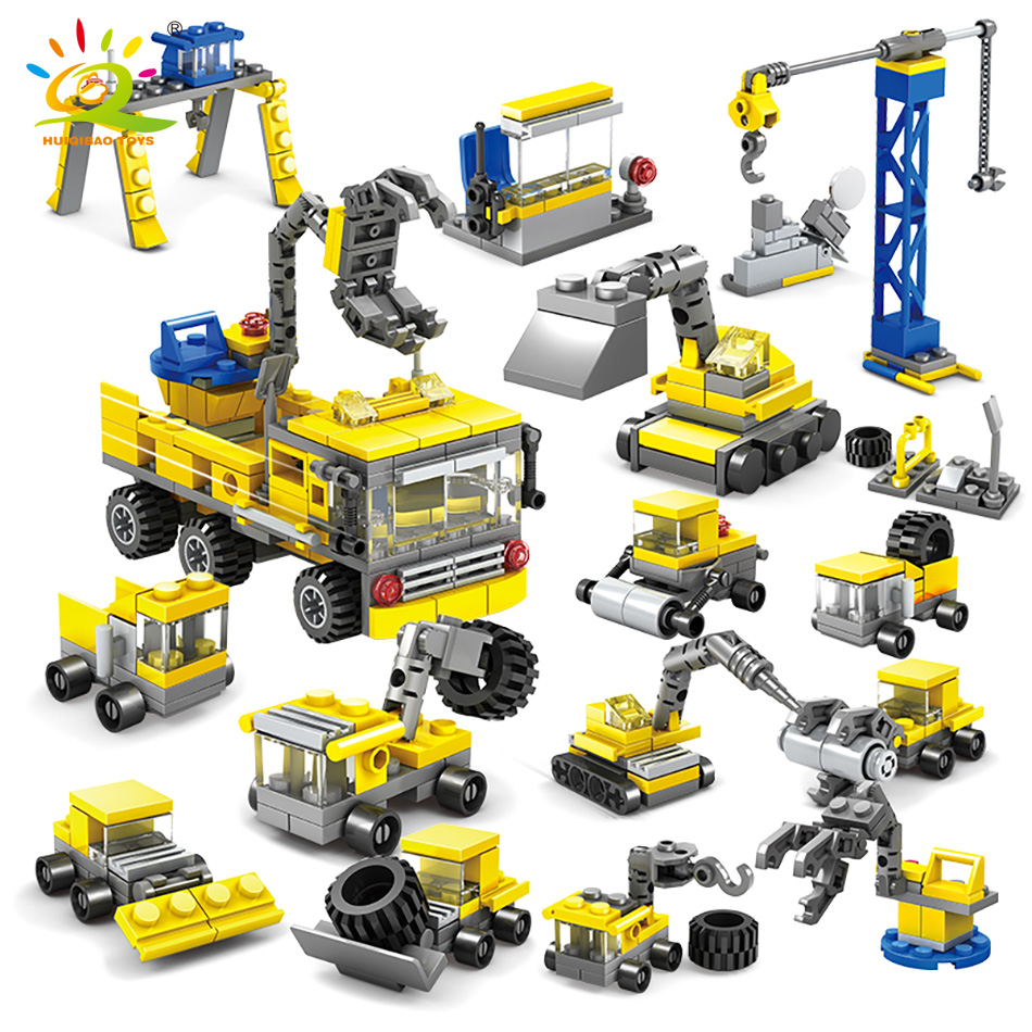 318pcs Engineering Construction Vehicles Building Blocks Excavator Model Legoingly City Crane Children DIY Bricks Toys For Boy