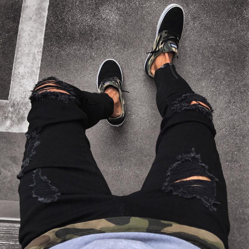 Men's Cool Designer Brand Black Jeans With Holes Fashion Ripped Destroyed Stretch Slim Fit Hop Hop Pants Skinny Jeans For Men