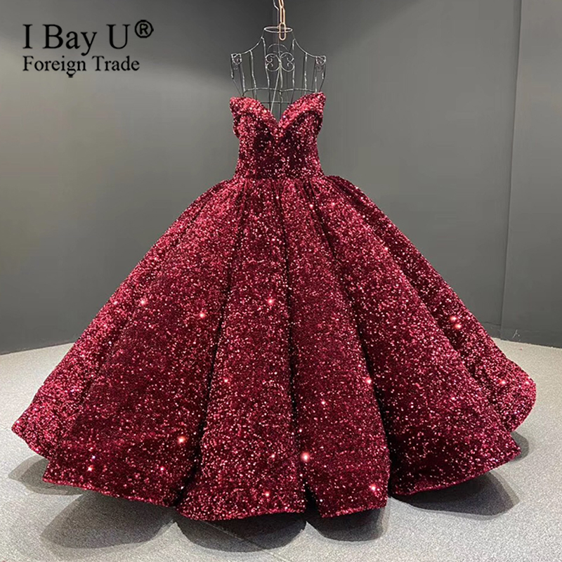 100cm Train France Sparkle Sequins Luxury Wedding Dresses 2020 Sweetheart Off Shoulder Ball Gown Verde Lujo Vestidos De Novia