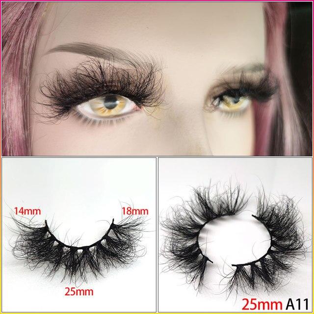 25mm Eyelashes Long 3D mink lashes long lasting mink eyelashes Big dramatic volumn eyelashes strip individual false eyelash 4
