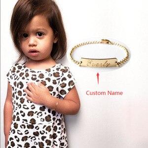Детские браслеты из розового золота, персонализированные детские именные браслеты из нержавеющей стали, с гравировкой, на день рождения ил...