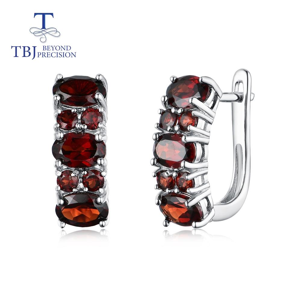 TBJ,2020 NEW 3.5ct Garnet Clasp Earrings  Natural Gemstone  925 Sterling Silver Fine Jewelry For Women,wife,girls Nice Gift