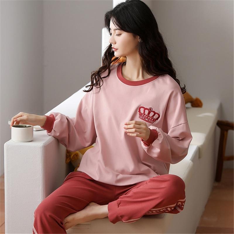 Купить осенне зимний женский пуловер из чистого хлопка спортивный костюм