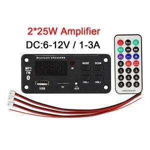 12v 50w mp3 player decodificador placa de tela colorida bluetooth 5.0 amplificador tf rádio módulo de gravação usb para áudio do carro alto-falante diy