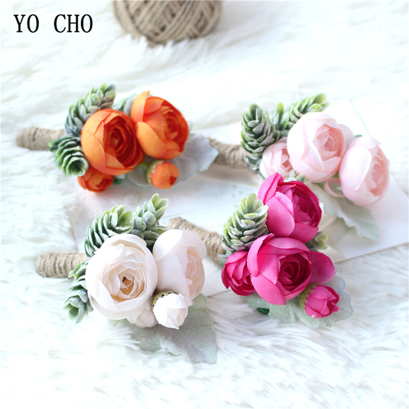 YO CHO Rose Bud Wrist Corsage Hand Flower Man Boutonniere Artificial Tea Rose Silk Wrist Bracelet Bridesmaid Wedding Prom Brooch